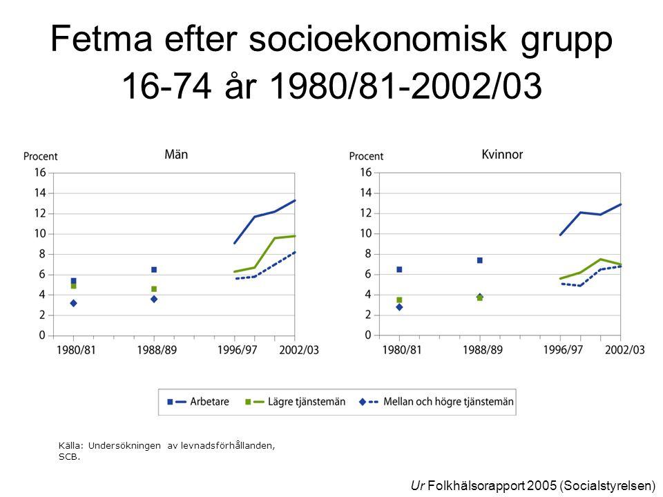 Fetma efter socioekonomisk grupp 16-74 år 1980/81-2002/03 Källa: Undersökningen av levnadsförhållanden, SCB. Ur Folkhälsorapport 2005 (Socialstyrelsen