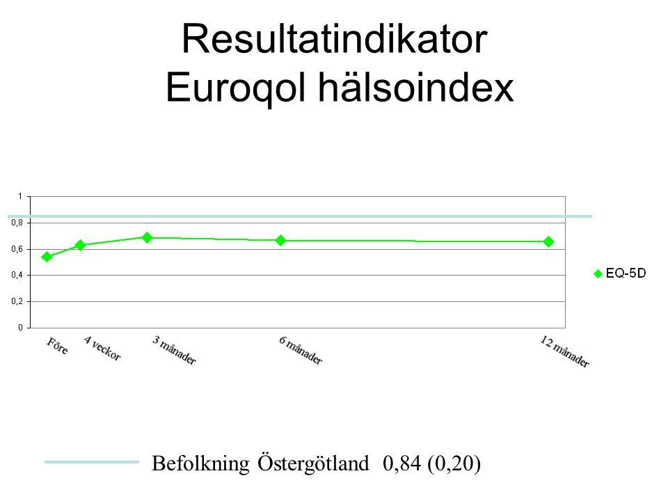 Resultatindikator Euroqol hälsoindex Befolkning Östergötland 0,84 (0,20)