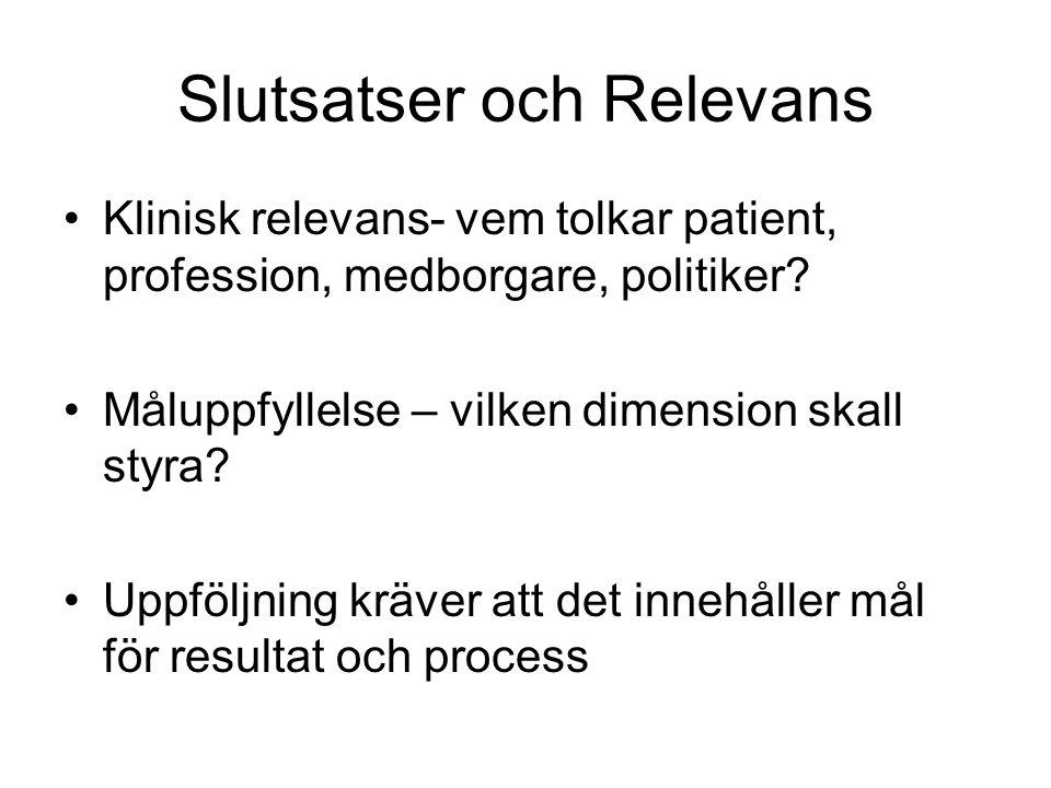 Slutsatser och Relevans Klinisk relevans- vem tolkar patient, profession, medborgare, politiker.