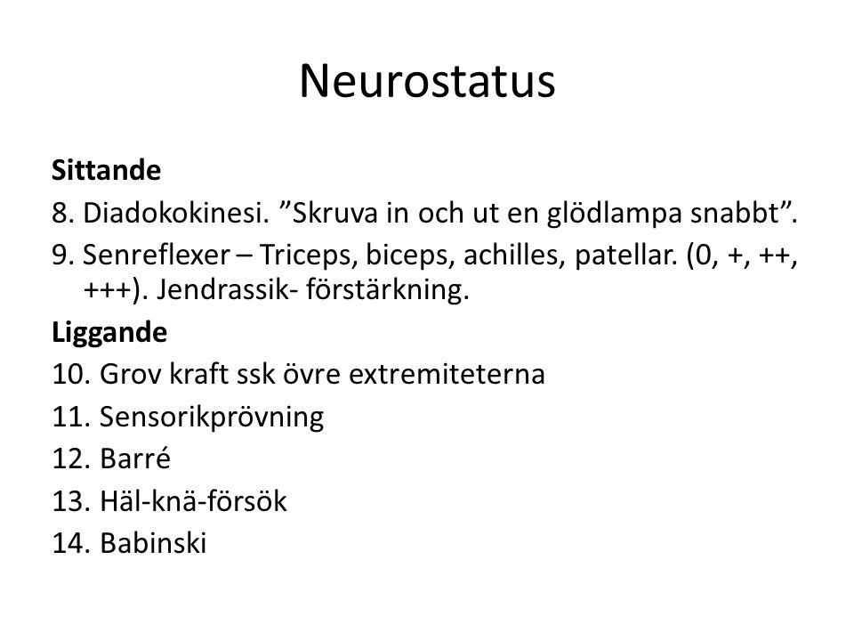 Neurostatus Sittande 8.Diadokokinesi. Skruva in och ut en glödlampa snabbt .