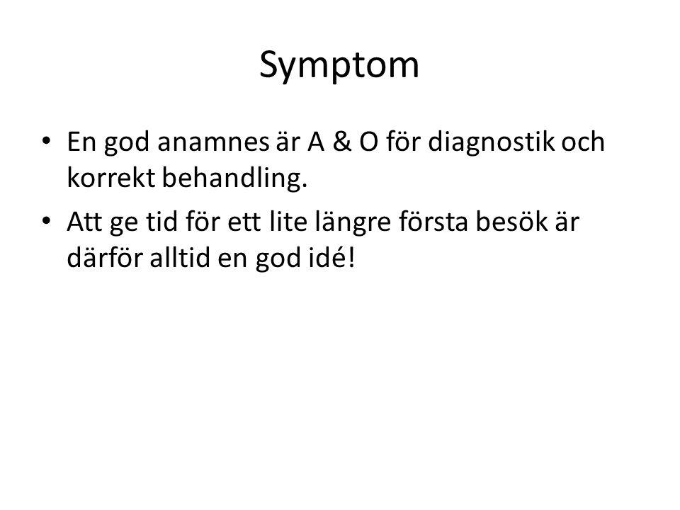 Symptom En god anamnes är A & O för diagnostik och korrekt behandling.