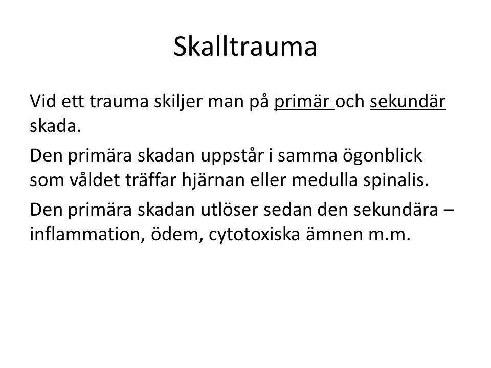 Skalltrauma Vid ett trauma skiljer man på primär och sekundär skada.