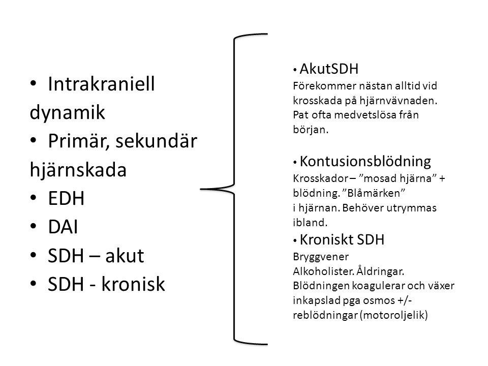 Intrakraniell dynamik Primär, sekundär hjärnskada EDH DAI SDH – akut SDH - kronisk AkutSDH Förekommer nästan alltid vid krosskada på hjärnvävnaden.