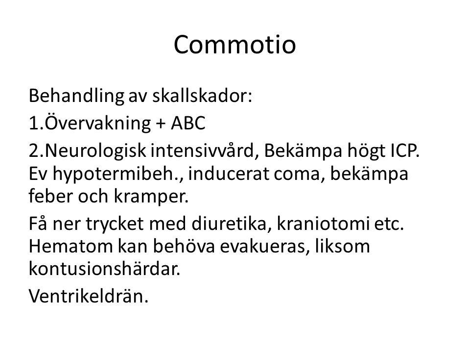 Commotio Behandling av skallskador: 1.Övervakning + ABC 2.Neurologisk intensivvård, Bekämpa högt ICP.