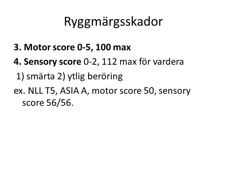 Ryggmärgsskador 3.Motor score 0-5, 100 max 4.