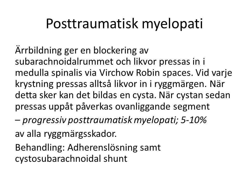 Posttraumatisk myelopati Ärrbildning ger en blockering av subarachnoidalrummet och likvor pressas in i medulla spinalis via Virchow Robin spaces.