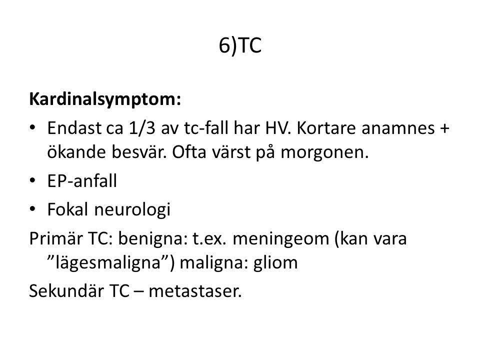6)TC Kardinalsymptom: Endast ca 1/3 av tc-fall har HV.
