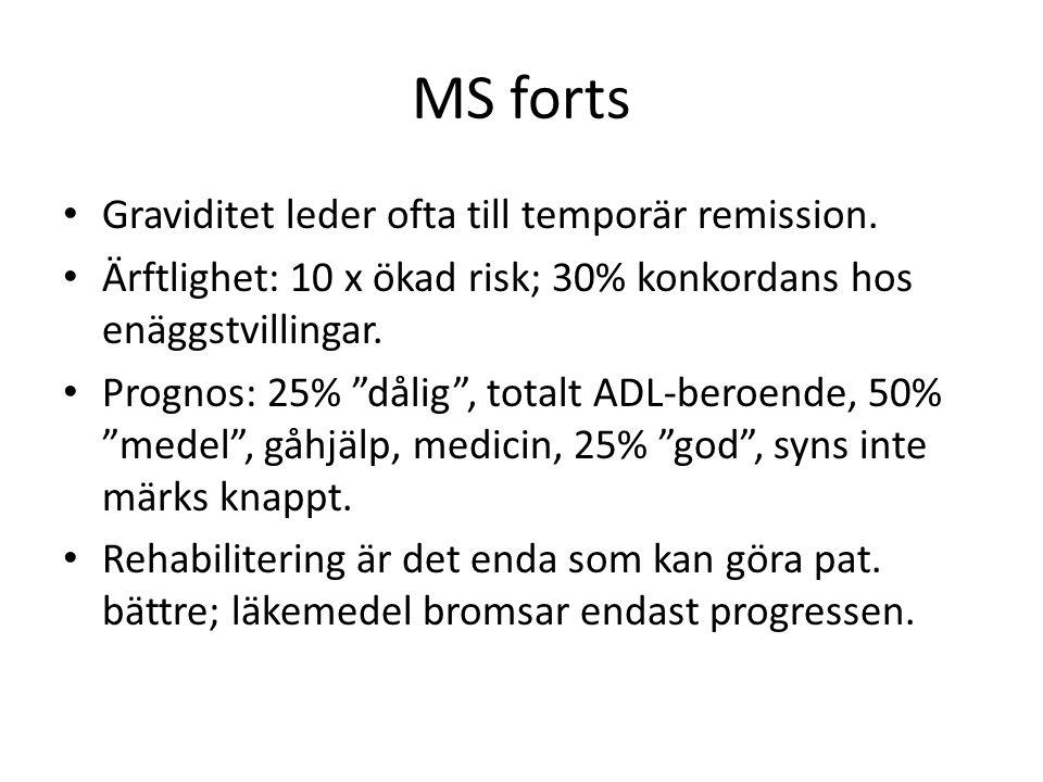 MS forts Graviditet leder ofta till temporär remission.