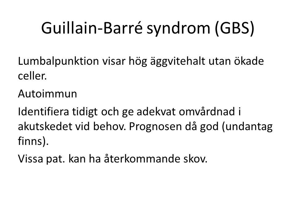 Guillain-Barré syndrom (GBS) Lumbalpunktion visar hög äggvitehalt utan ökade celler.