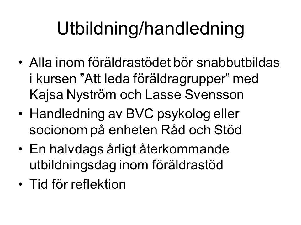 """Utbildning/handledning Alla inom föräldrastödet bör snabbutbildas i kursen """"Att leda föräldragrupper"""" med Kajsa Nyström och Lasse Svensson Handledning"""