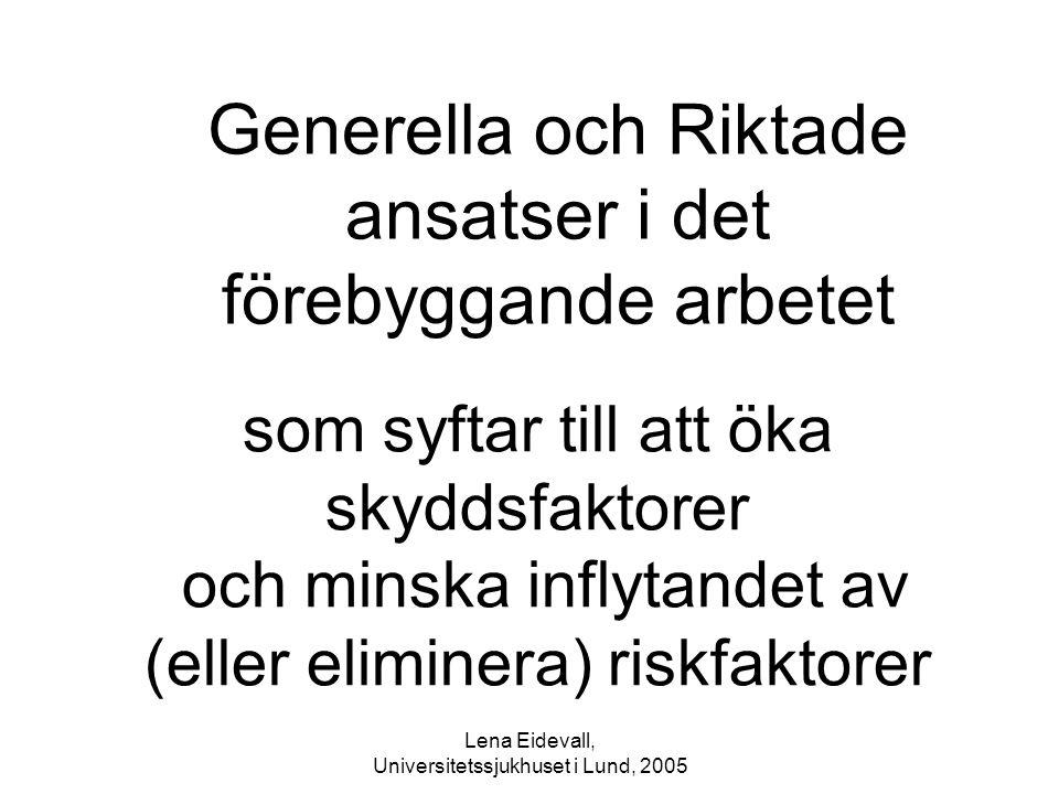 Lena Eidevall, Universitetssjukhuset i Lund, 2005 som syftar till att öka skyddsfaktorer och minska inflytandet av (eller eliminera) riskfaktorer Gene