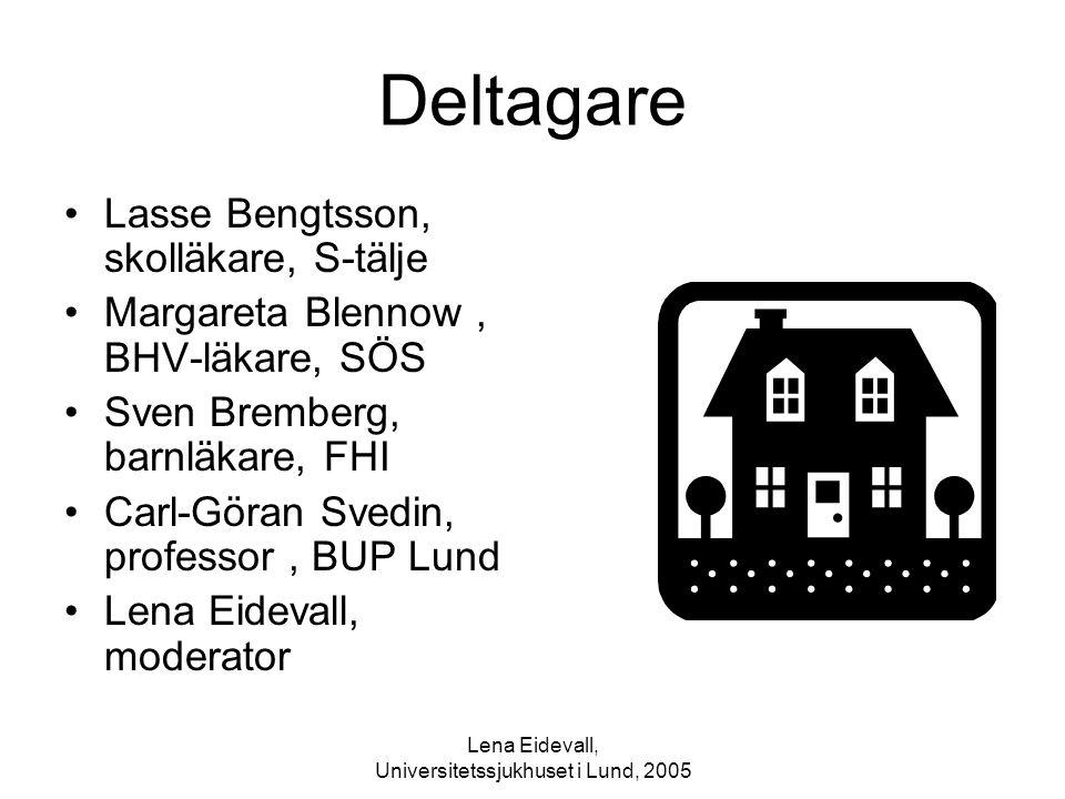 Lena Eidevall, Universitetssjukhuset i Lund, 2005 Deltagare Lasse Bengtsson, skolläkare, S-tälje Margareta Blennow, BHV-läkare, SÖS Sven Bremberg, bar