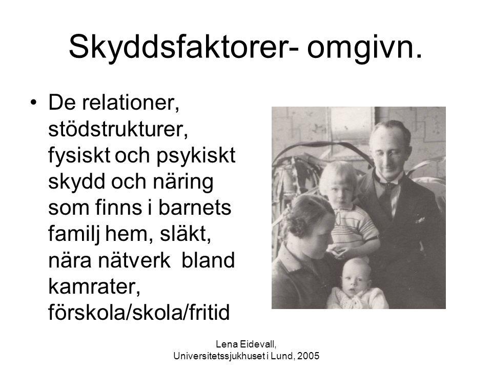 Lena Eidevall, Universitetssjukhuset i Lund, 2005 Skyddsfaktorer- omgivn. De relationer, stödstrukturer, fysiskt och psykiskt skydd och näring som fin