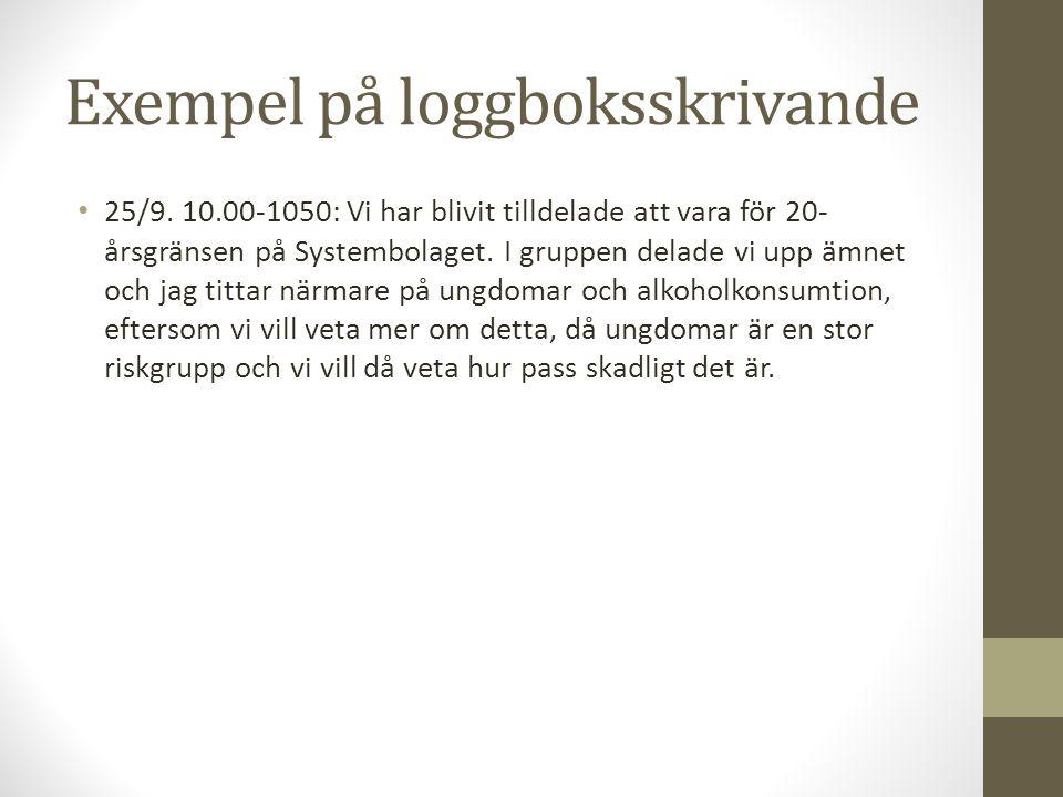 Exempel på loggboksskrivande 25/9.