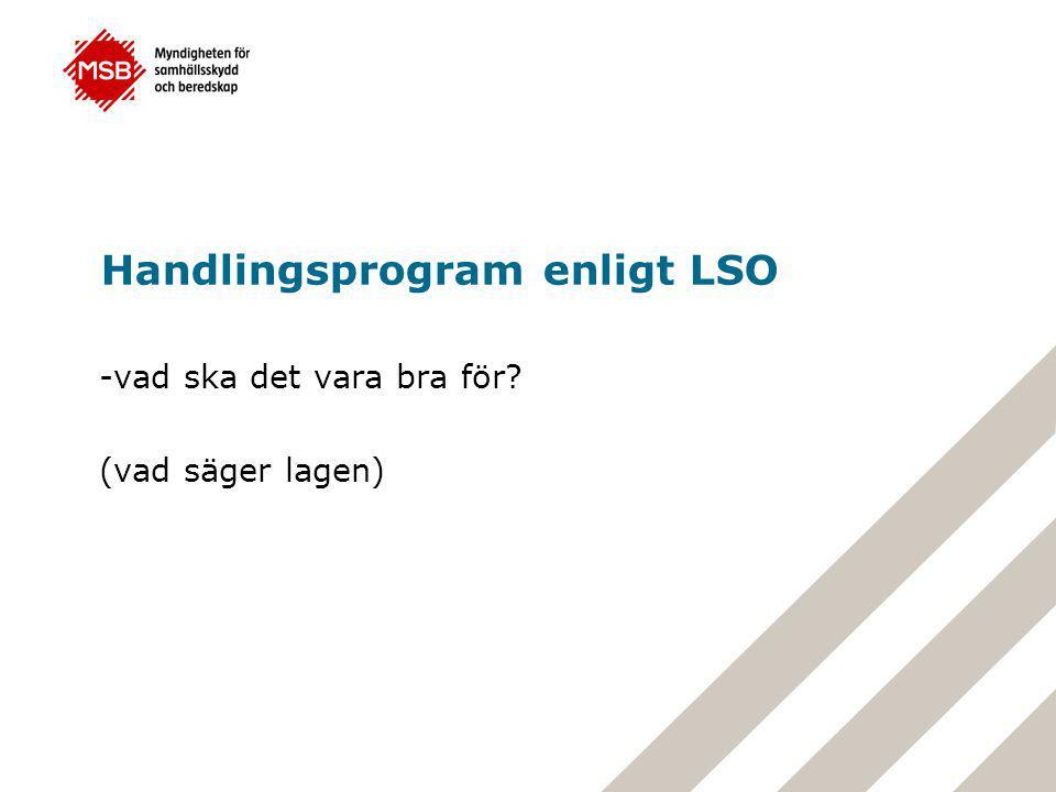 Handlingsprogram enligt LSO -vad ska det vara bra för? (vad säger lagen)