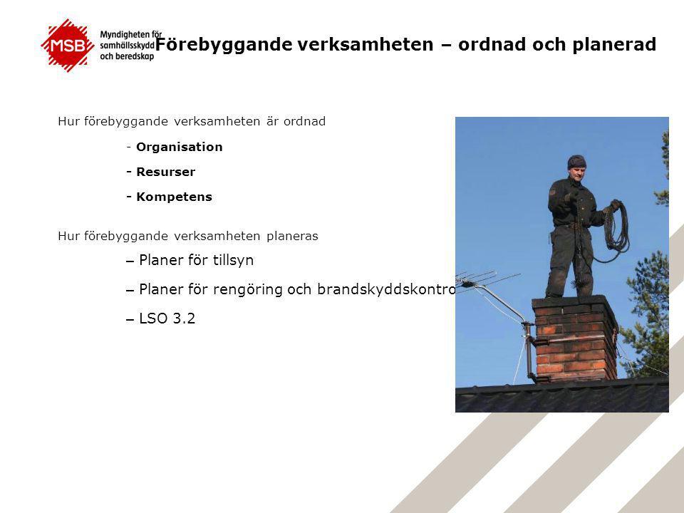 Hur förebyggande verksamheten är ordnad - Organisation - Resurser - Kompetens Hur förebyggande verksamheten planeras – Planer för tillsyn – Planer för rengöring och brandskyddskontroll – LSO 3.2 Förebyggande verksamheten – ordnad och planerad