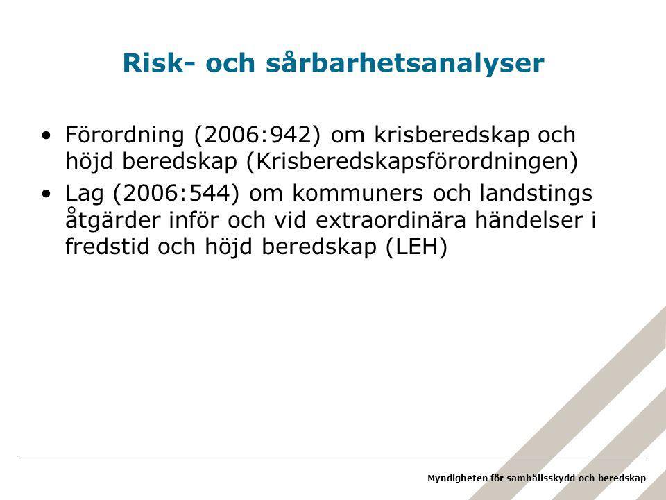 Myndigheten för samhällsskydd och beredskap Risk- och sårbarhetsanalyser Förordning (2006:942) om krisberedskap och höjd beredskap (Krisberedskapsförordningen) Lag (2006:544) om kommuners och landstings åtgärder inför och vid extraordinära händelser i fredstid och höjd beredskap (LEH)