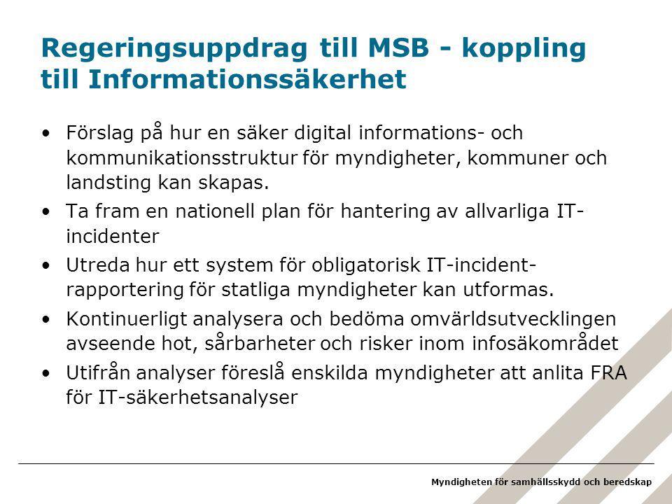 Myndigheten för samhällsskydd och beredskap Regeringsuppdrag till MSB - koppling till Informationssäkerhet Förslag på hur en säker digital informations- och kommunikationsstruktur för myndigheter, kommuner och landsting kan skapas.