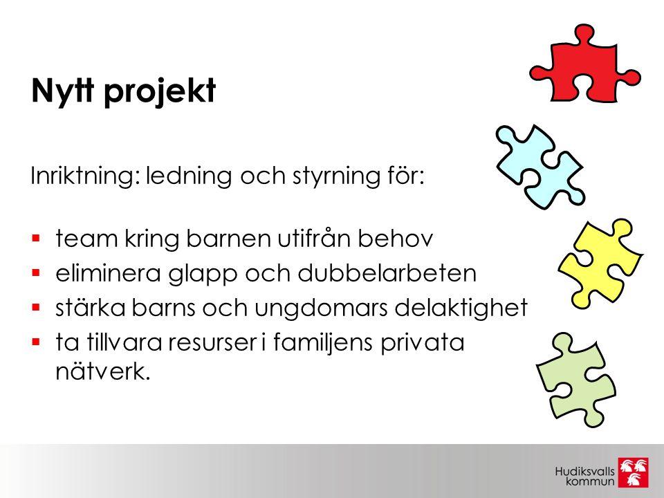 Nytt projekt Inriktning: ledning och styrning för:  team kring barnen utifrån behov  eliminera glapp och dubbelarbeten  stärka barns och ungdomars
