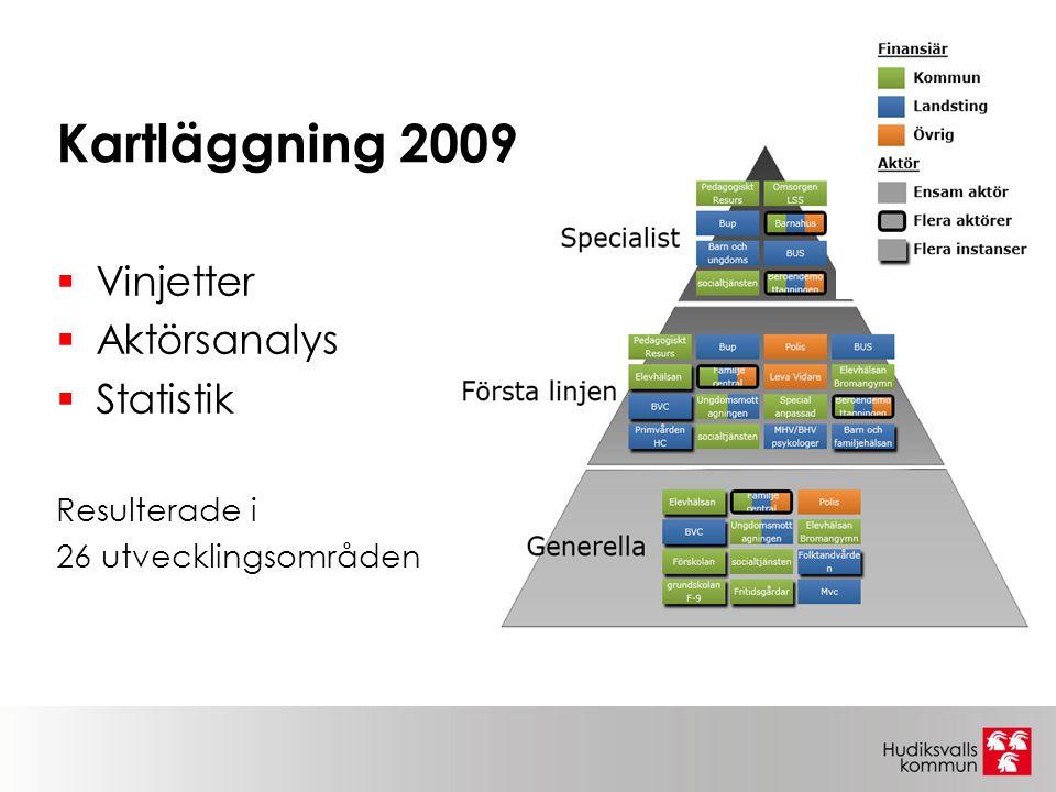Kartläggning 2009  Vinjetter  Aktörsanalys  Statistik Resulterade i 26 utvecklingsområden