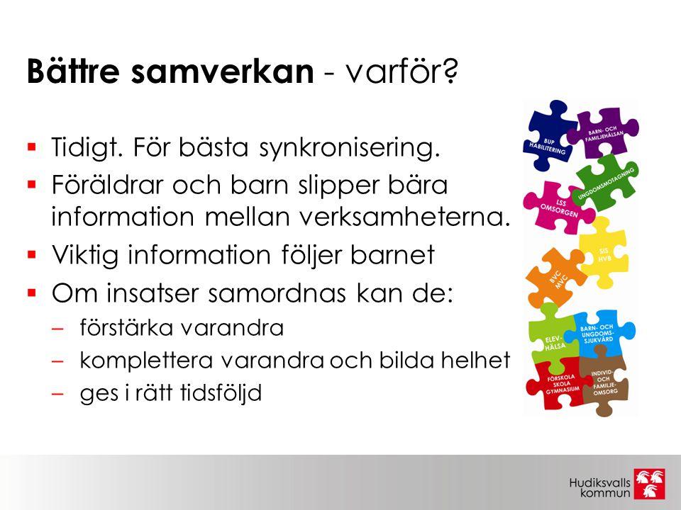 Bättre samverkan - varför?  Tidigt. För bästa synkronisering.  Föräldrar och barn slipper bära information mellan verksamheterna.  Viktig informati