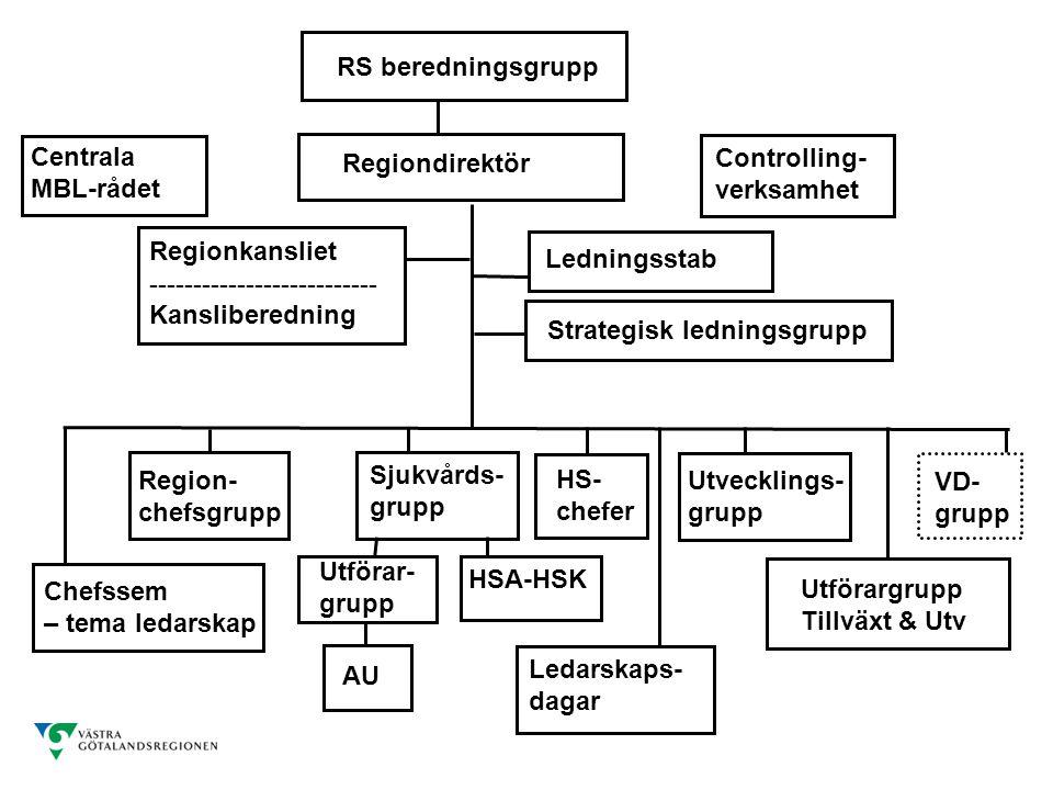 RS beredningsgrupp Regiondirektör Centrala MBL-rådet Controlling- verksamhet VD- grupp Regionkansliet -------------------------- Kansliberedning Ledningsstab Ledarskaps- dagar Region- chefsgrupp Utvecklings- grupp Sjukvårds- grupp Strategisk ledningsgrupp Utförar- grupp HSA-HSK Utförargrupp Tillväxt & Utv HS- chefer Chefssem – tema ledarskap AU
