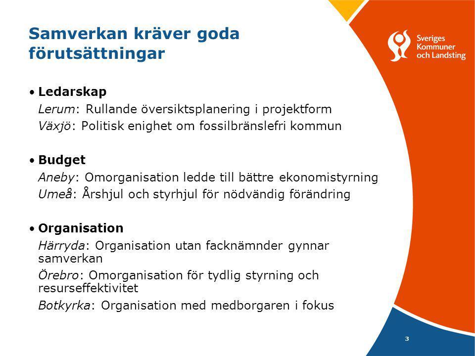 3 Samverkan kräver goda förutsättningar Ledarskap Lerum: Rullande översiktsplanering i projektform Växjö: Politisk enighet om fossilbränslefri kommun