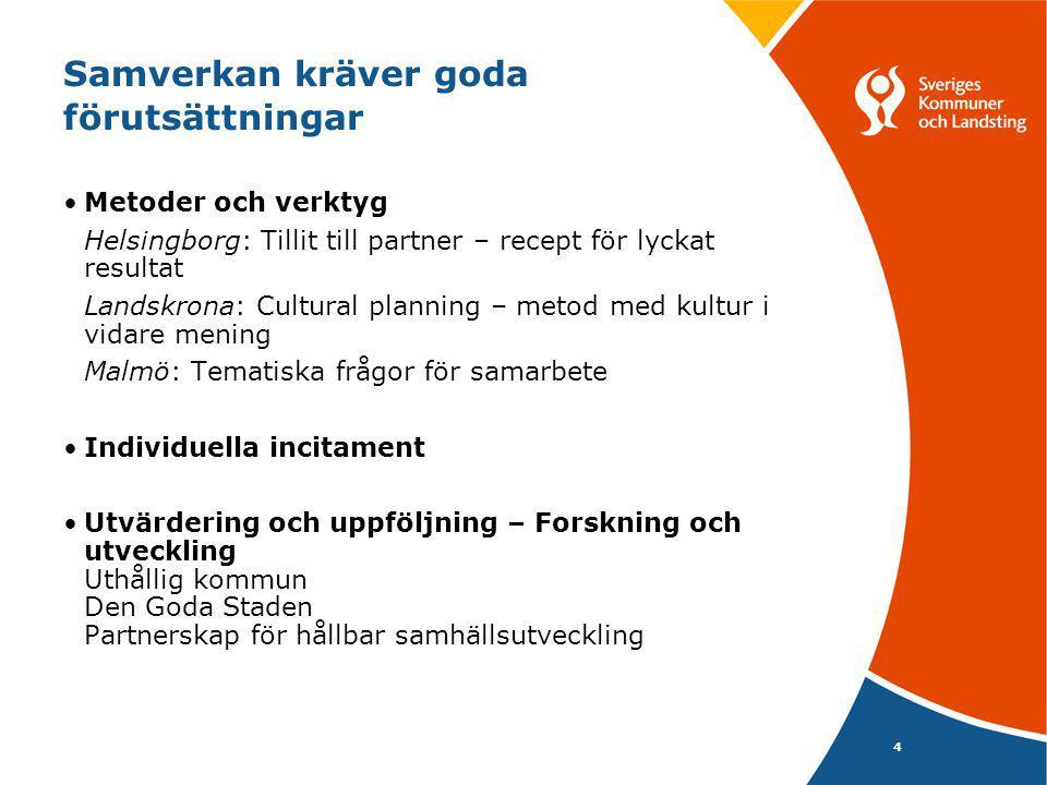 4 Samverkan kräver goda förutsättningar Metoder och verktyg Helsingborg: Tillit till partner – recept för lyckat resultat Landskrona: Cultural plannin