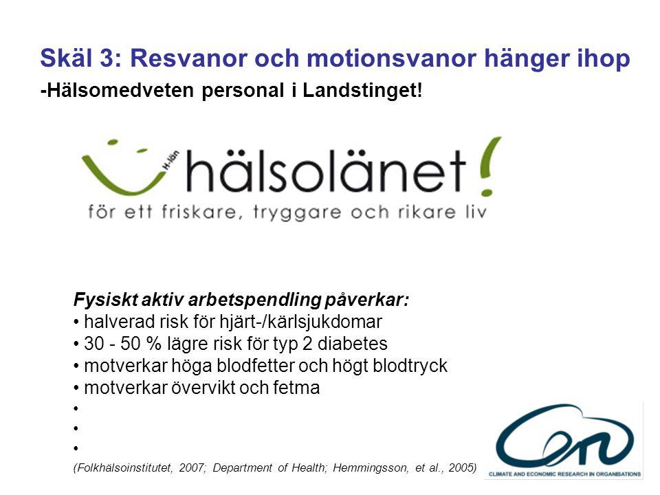 Skäl 3: Resvanor och motionsvanor hänger ihop -Hälsomedveten personal i Landstinget.