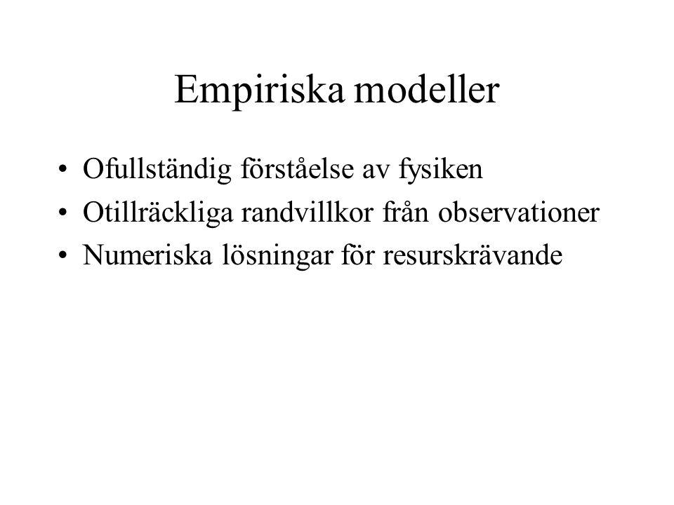 Empiriska modeller Ofullständig förståelse av fysiken Otillräckliga randvillkor från observationer Numeriska lösningar för resurskrävande