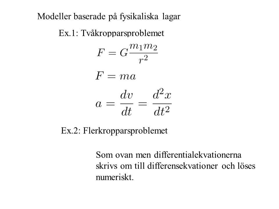 Modeller baserade på fysikaliska lagar Ex.1: Tvåkropparsproblemet Ex.2: Flerkropparsproblemet Som ovan men differentialekvationerna skrivs om till differensekvationer och löses numeriskt.