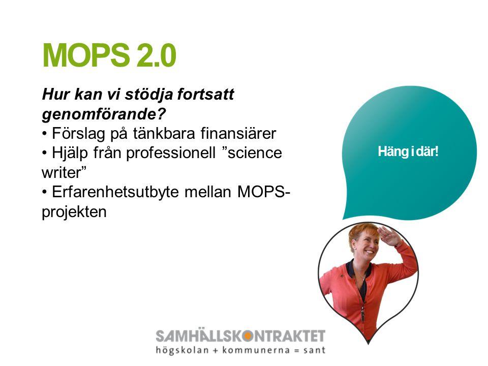 """Häng i där! MOPS 2.0 Hur kan vi stödja fortsatt genomförande? Förslag på tänkbara finansiärer Hjälp från professionell """"science writer"""" Erfarenhetsutb"""
