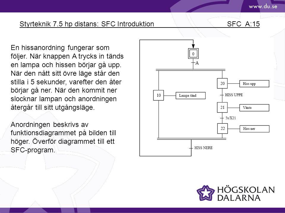 Styrteknik 7.5 hp distans: SFC Introduktion SFC_A:15 En hissanordning fungerar som följer. När knappen A trycks in tänds en lampa och hissen börjar gå