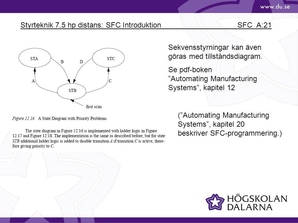 """Styrteknik 7.5 hp distans: SFC Introduktion SFC_A:21 Sekvensstyrningar kan även göras med tillståndsdiagram. Se pdf-boken """"Automating Manufacturing Sy"""