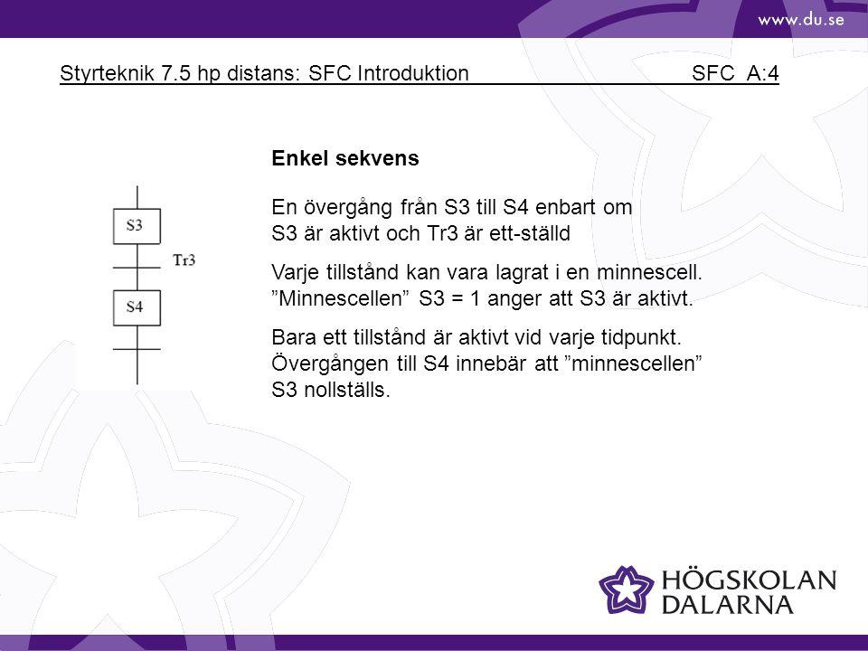 Styrteknik 7.5 hp distans: SFC Introduktion SFC_A:4 Enkel sekvens En övergång från S3 till S4 enbart om S3 är aktivt och Tr3 är ett-ställd Varje tills