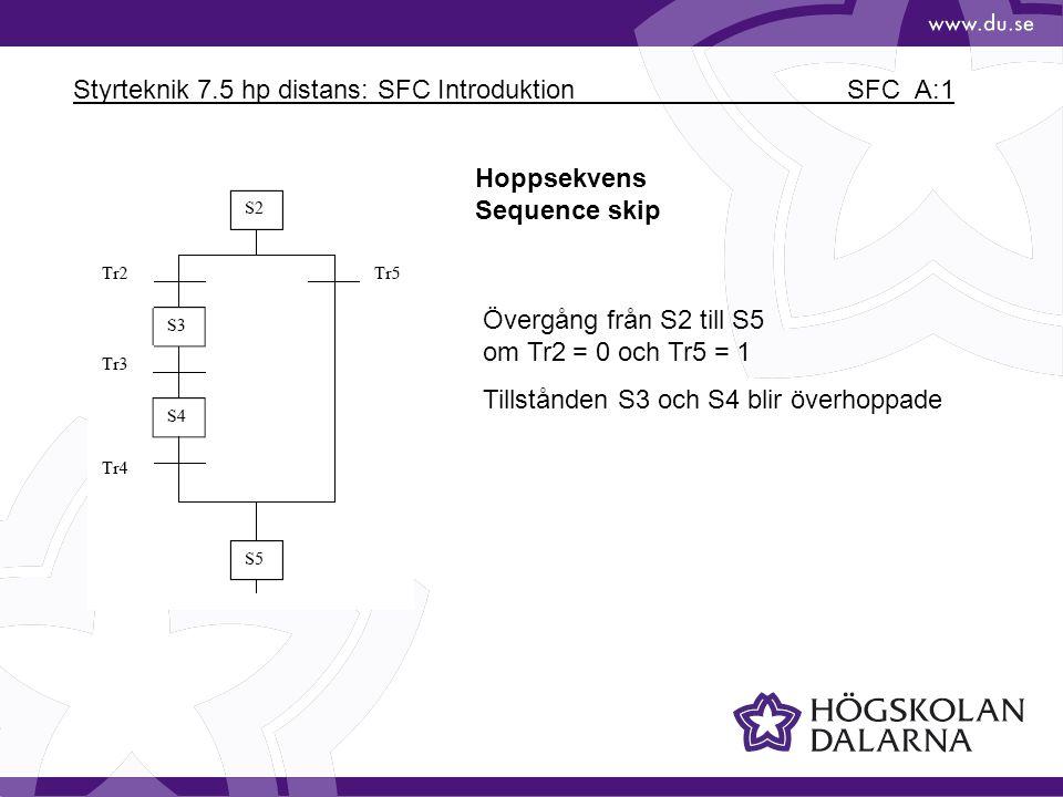 Styrteknik 7.5 hp distans: SFC Introduktion SFC_A:1 Hoppsekvens Sequence skip Övergång från S2 till S5 om Tr2 = 0 och Tr5 = 1 Tillstånden S3 och S4 bl