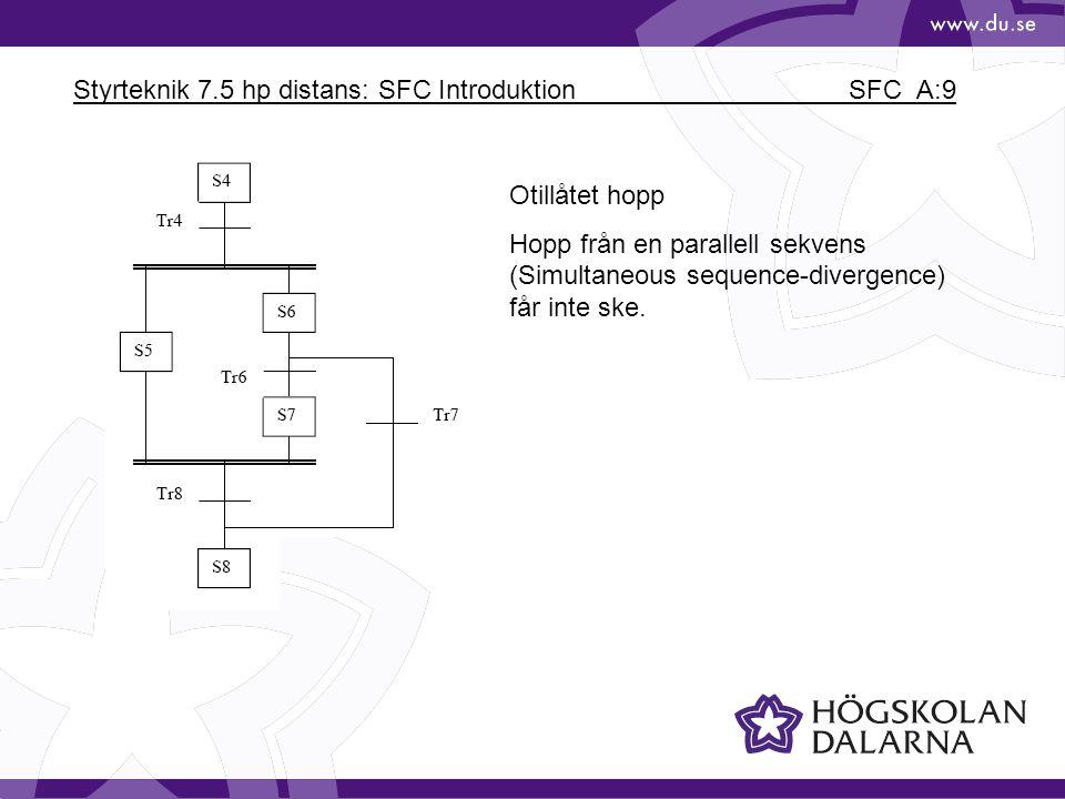 Styrteknik 7.5 hp distans: SFC Introduktion SFC_A:9 Otillåtet hopp Hopp från en parallell sekvens (Simultaneous sequence-divergence) får inte ske.