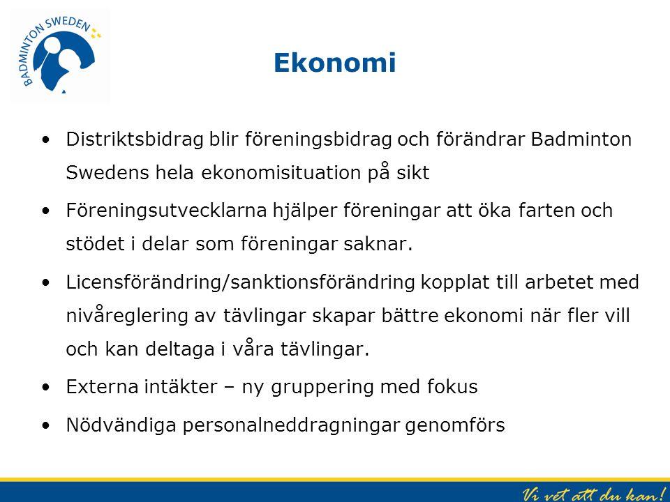 Ekonomi Distriktsbidrag blir föreningsbidrag och förändrar Badminton Swedens hela ekonomisituation på sikt Föreningsutvecklarna hjälper föreningar att