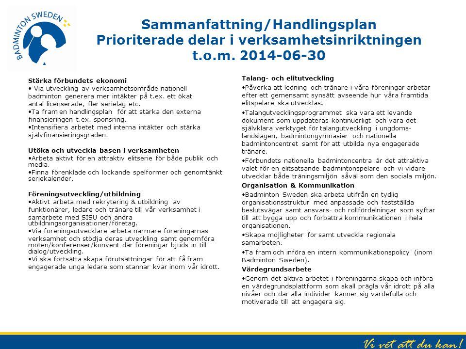 Sammanfattning/Handlingsplan Prioriterade delar i verksamhetsinriktningen t.o.m. 2014-06-30 Stärka förbundets ekonomi Via utveckling av verksamhetsomr