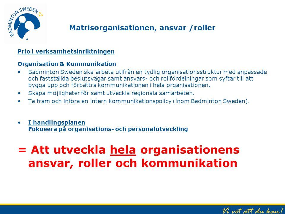 Matrisorganisationen, ansvar /roller Prio i verksamhetsinriktningen Organisation & Kommunikation Badminton Sweden ska arbeta utifrån en tydlig organis