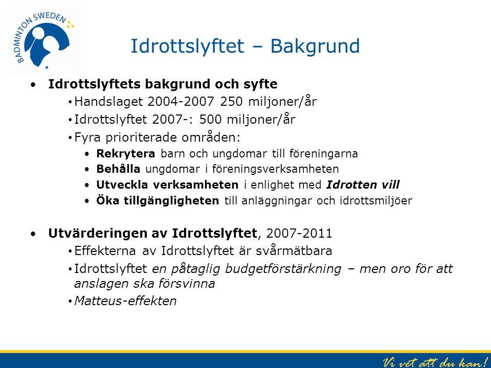Idrottslyftet – Bakgrund Idrottslyftets bakgrund och syfte Handslaget 2004-2007 250 miljoner/år Idrottslyftet 2007-: 500 miljoner/år Fyra prioriterade