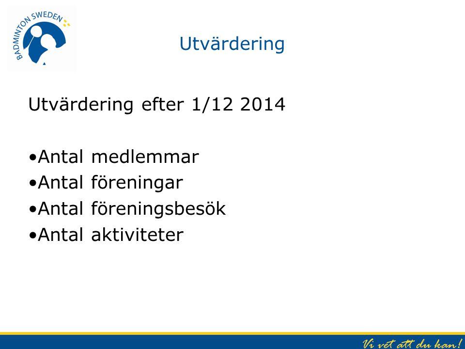 Utvärdering Utvärdering efter 1/12 2014 Antal medlemmar Antal föreningar Antal föreningsbesök Antal aktiviteter