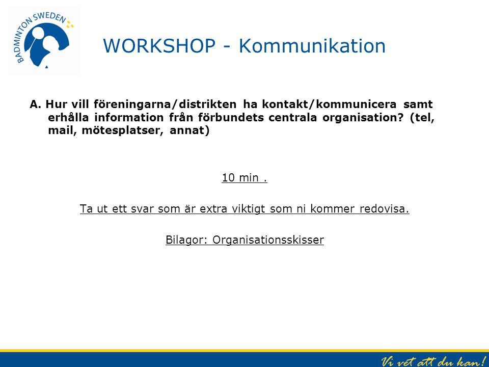 WORKSHOP - Kommunikation A. Hur vill föreningarna/distrikten ha kontakt/kommunicera samt erhålla information från förbundets centrala organisation? (t