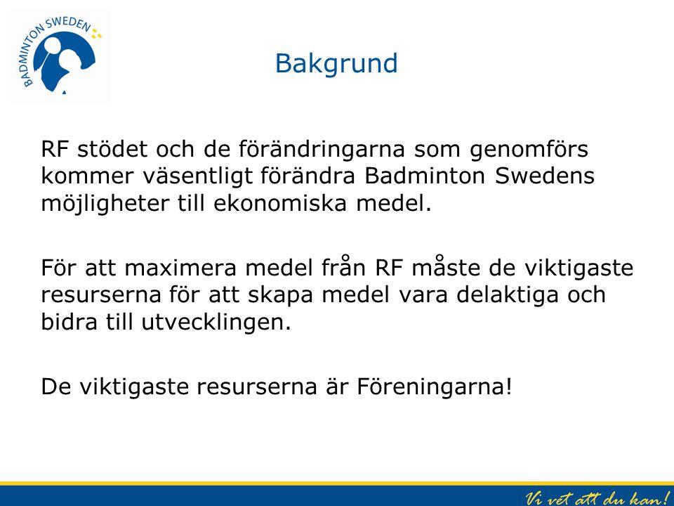 Bakgrund RF stödet och de förändringarna som genomförs kommer väsentligt förändra Badminton Swedens möjligheter till ekonomiska medel. För att maximer