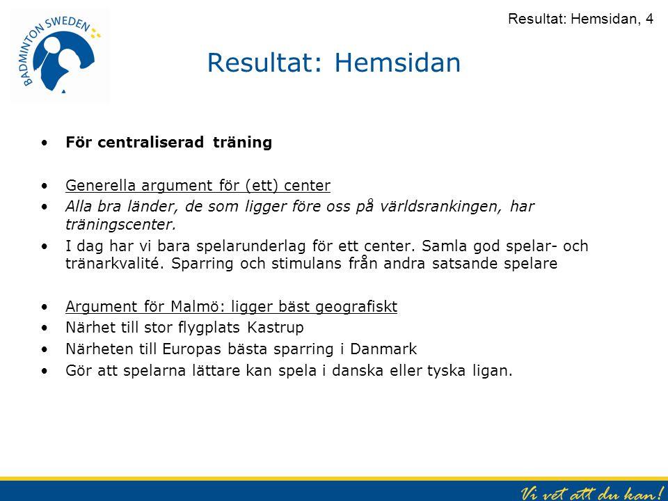Resultat: Hemsidan För centraliserad träning Generella argument för (ett) center Alla bra länder, de som ligger före oss på världsrankingen, har träni