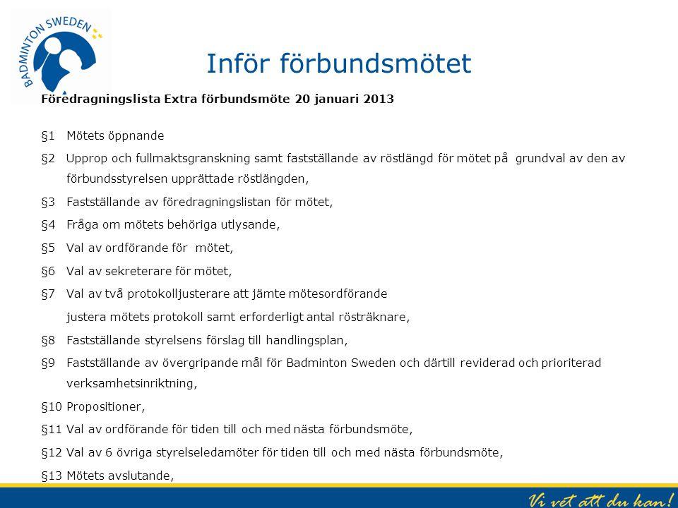 Inför förbundsmötet Föredragningslista Extra förbundsmöte 20 januari 2013 §1Mötets öppnande §2Upprop och fullmaktsgranskning samt fastställande av rös