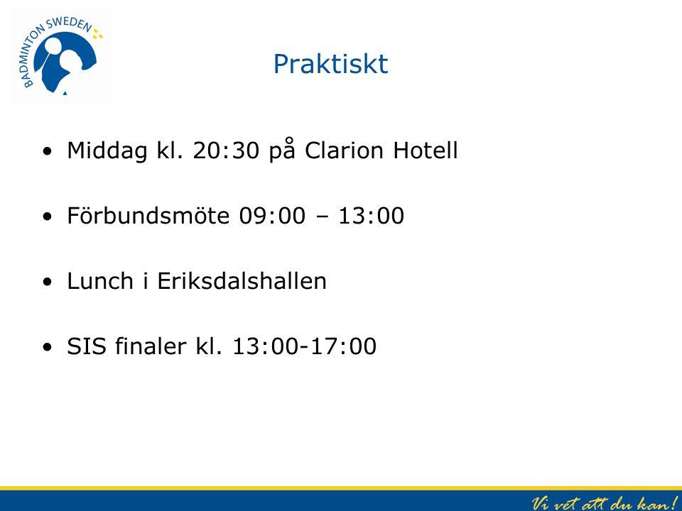 Praktiskt Middag kl. 20:30 på Clarion Hotell Förbundsmöte 09:00 – 13:00 Lunch i Eriksdalshallen SIS finaler kl. 13:00-17:00