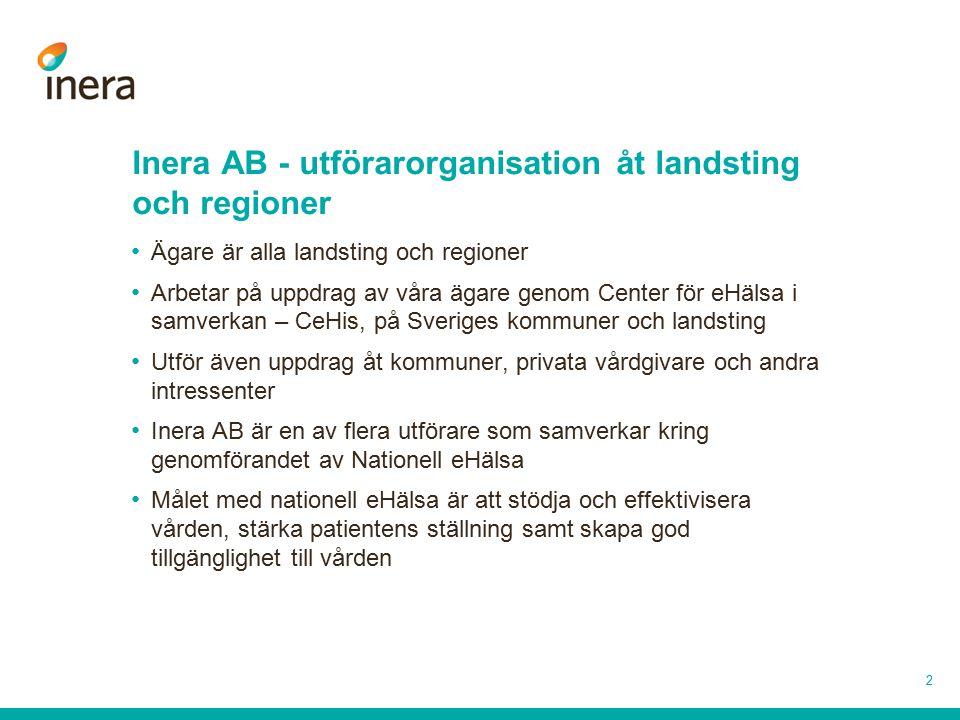 2 Inera AB - utförarorganisation åt landsting och regioner Ägare är alla landsting och regioner Arbetar på uppdrag av våra ägare genom Center för eHäl