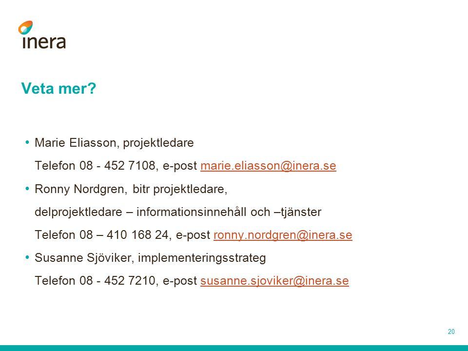 20 Veta mer? Marie Eliasson, projektledare Telefon 08 - 452 7108, e-post marie.eliasson@inera.semarie.eliasson@inera.se Ronny Nordgren, bitr projektle
