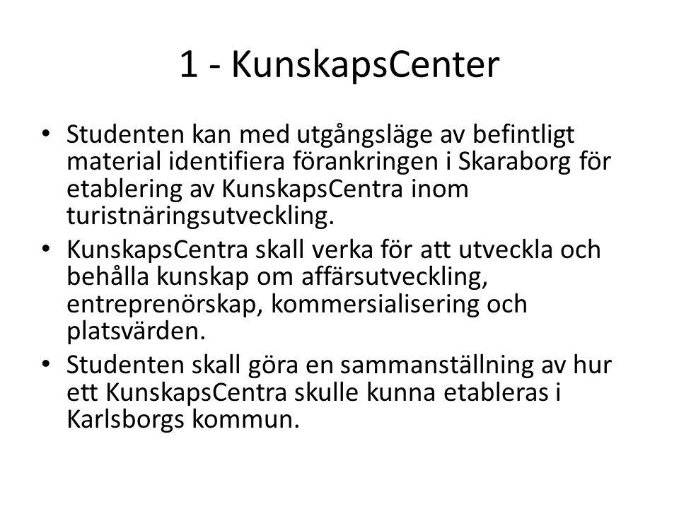 1 - KunskapsCenter Studenten kan med utgångsläge av befintligt material identifiera förankringen i Skaraborg för etablering av KunskapsCentra inom turistnäringsutveckling.